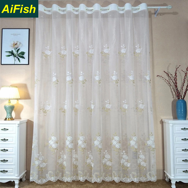 European Style Embroidered Orchid Sheer Curtains White Semi