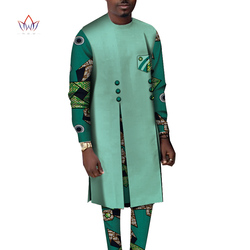 Bazin Riche Mannen 2 Stuks Broek Sets Afrikaanse Kleding Casual Mannen Patchwork Top Shirt en Broek Sets Afrikaanse Mannen Kleding WYN1068