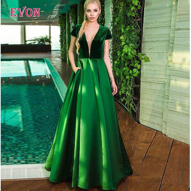 Elegant V Neck Short Sleeves Long Evening Dresses Custom Made Pocket Velvet Abendkleider Formal Evening Gowns Vestido De Fiesta