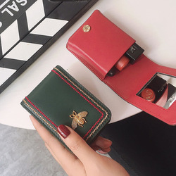 Ретро-сумка для губной помады с вышитыми нитками, портативная косметичка с небольшим номером и зеркалом, мягкая мини-коробка для хранения п...