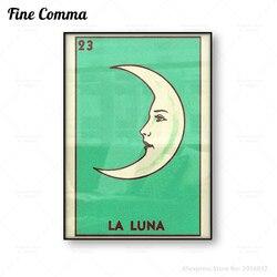 Poster do vintage oteria la luna impressão em tela lua crescente arte da parede antigo lua rosto pintura da lona retro mexicano folk arte decoração