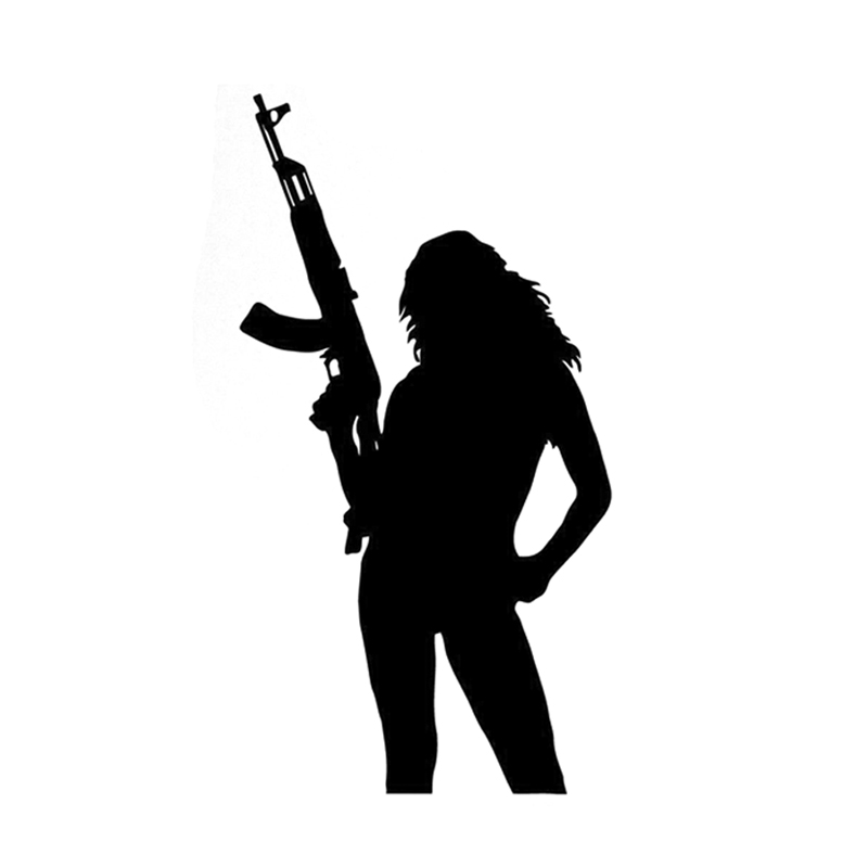 8.5*16CM Mysterious Silhouette Hot <font><b>Sexy</b></font> Girl Mafia Gun Graphic Car Sticker Black White Vinyl Decals Exterior <font><b>Accessories</b></font> image