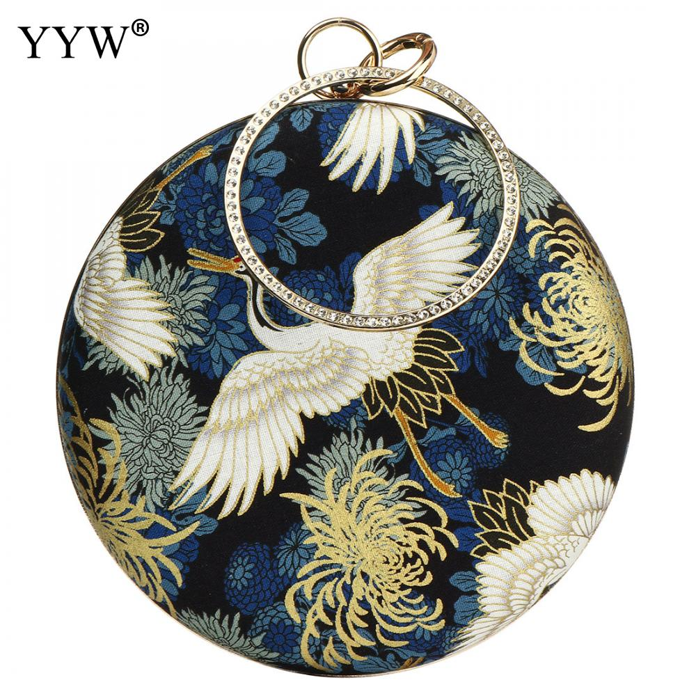 Vintage Pochette Femme Women Embroidered Rhinestone Floral Circle Ring Clutch Bags Crystal Handbag For Evening Party Sac