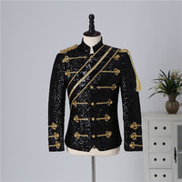 Men`s Victorian Court Uniform Black White Military Officer Uniform Male Carnival Halloween Cosplay Costume Men`s Suit Jacket 3XL
