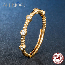 ALLNOEL Adjustable 925 Sterling Silver Ring HOT SALE Zircon Gold-Color Rings For Women  Fine Silver 925 Jewelry Female Gifts
