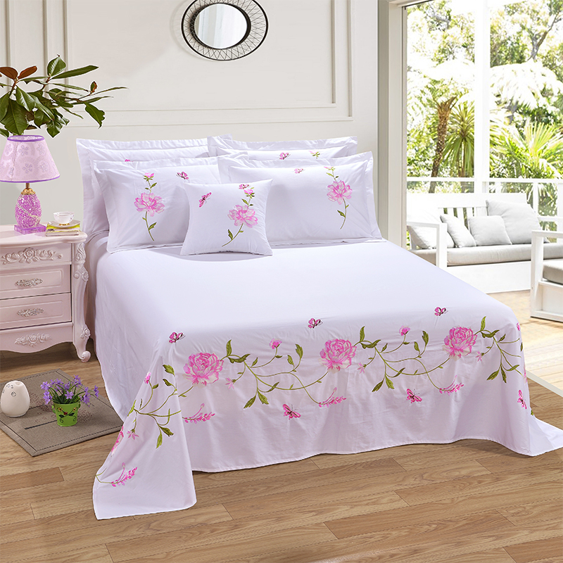 3 Piece Cotton Twill Bed Sheets Set Luxury Embroidery Pillowcases Extra Soft Wrinkle & Fade Free Queen White