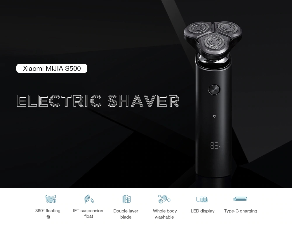 New Mijia Men's Electric Shaver S500 Rechargeable 3 Heads Type-C Wet Dry Shaving Machine Beard Trimmer Washable Double Blade (1)