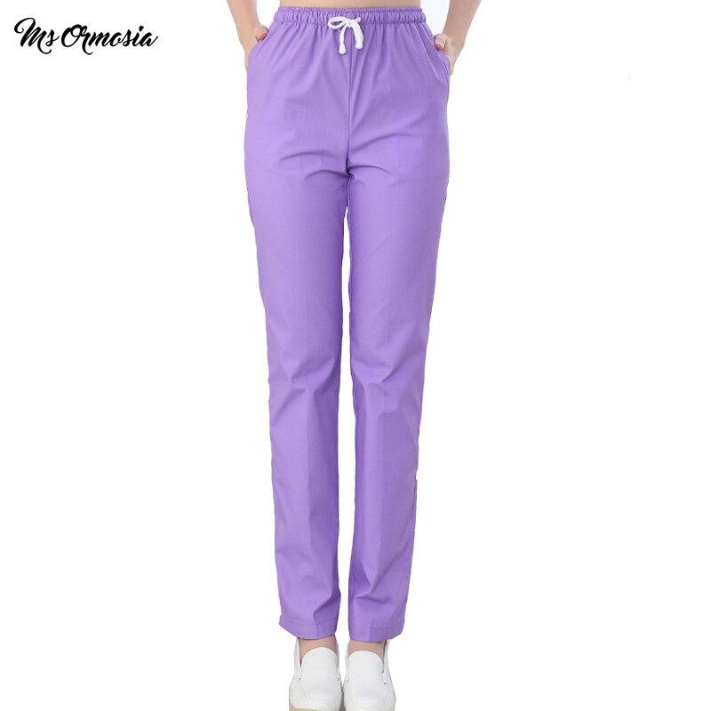 MSORMOSIA New Work Trouser Doctor Nurse Uniform Bottoms Cotton More Pockets Dental Medical Scrub Pants SPA Nursing Scrub Pants