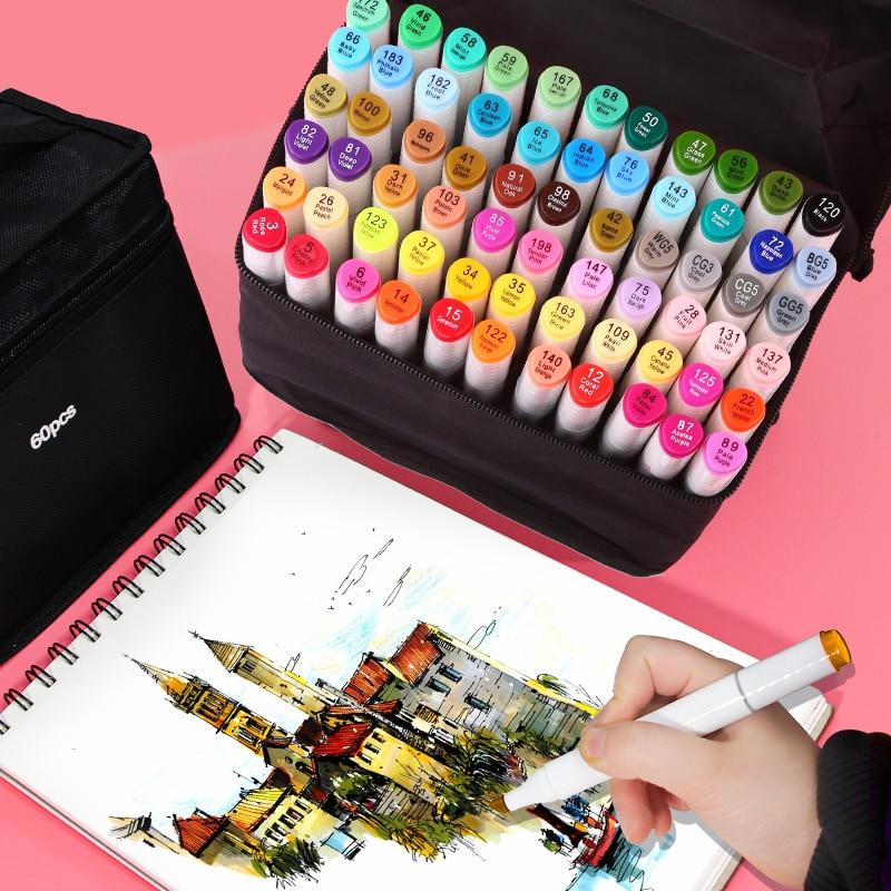 Marcadores 30/40/60/80 cores esboço arte marcador caneta pontas duplas canetas alcoólicas para o artista manga marcadores suprimentos de arte escola