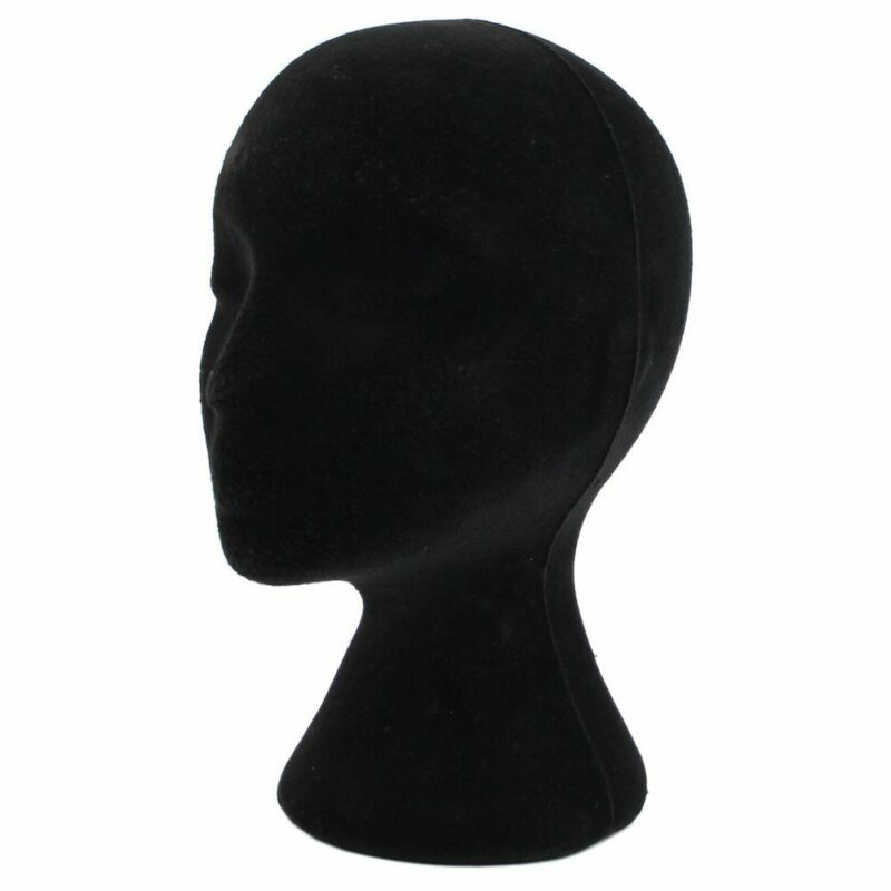 Female Styrofoam Mannequin Black Wig Glasses Hat Display Stand Popular Foam Head Model Storage Holders White 1PC image
