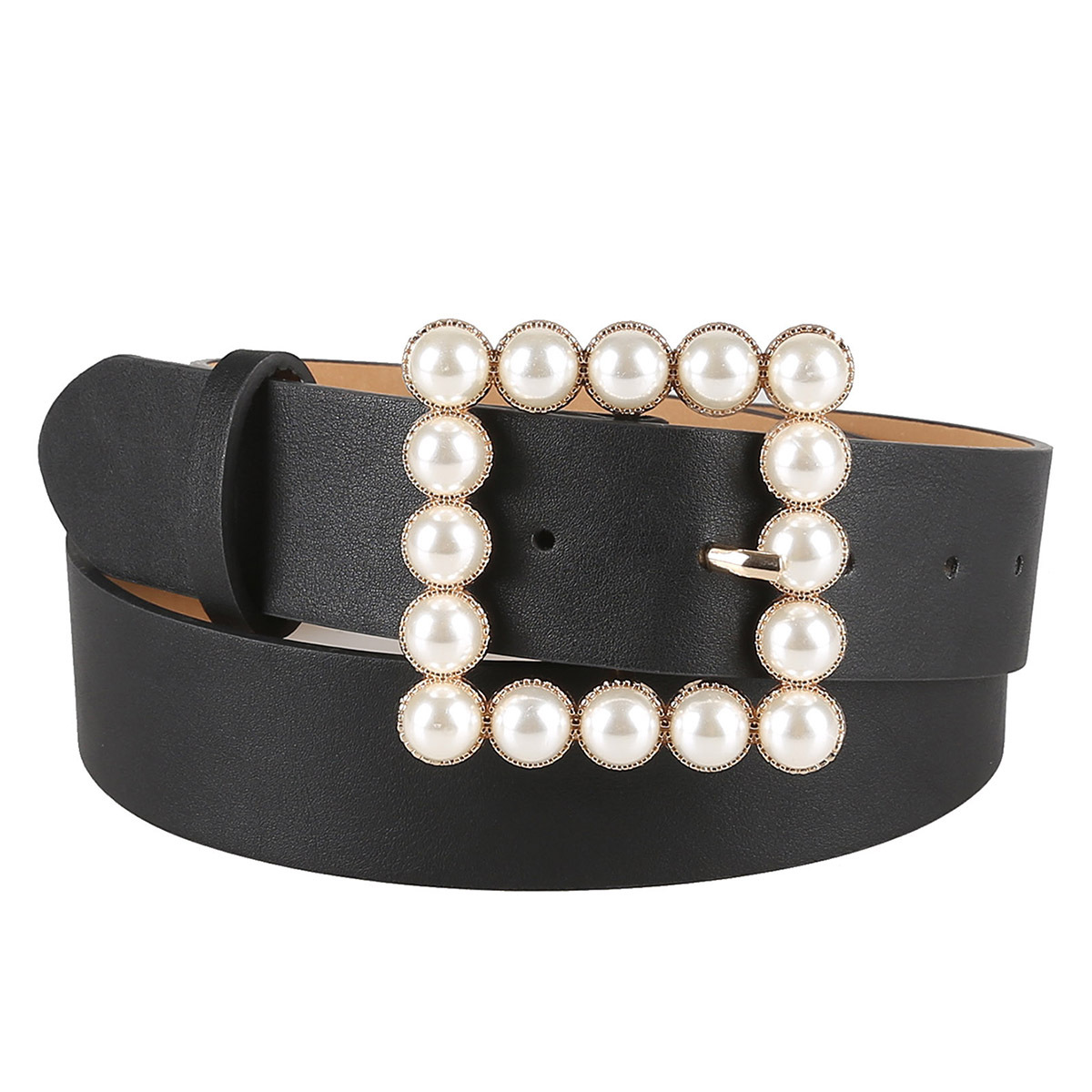 Pearl Decorative Belt Ladies Pin Buckle Pearl Belts Women's Casual Solid Pu Leather Thin Belt Luxury Belts Women Designer Brand