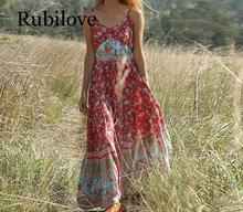 Rubilove Casual Boho Dress Women 2019 Summer Spaghetti Strap Beach Sexy V Neck Maxi Dresses Long Vestidos