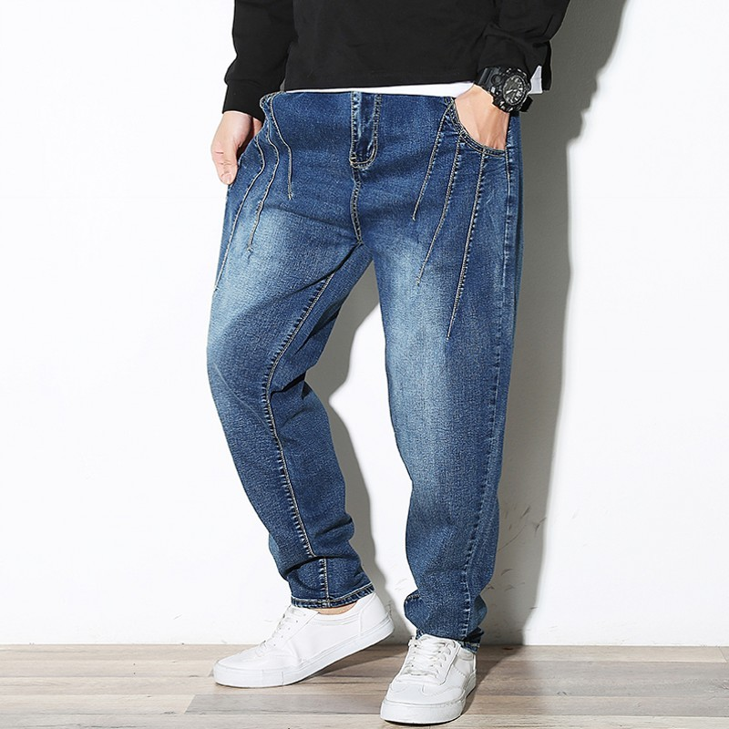 2020 New Winter Mens Jean Pants Fashion Solid Korean Mid Waist Denim Pants Male Casual Loose Fit Harem Pants Plus Size M-7XL