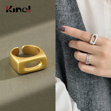 Kinel Woman Jewelry INS Hollow Finger Silver Ring Fashion 925 Sterling Silver 14k Gold Ring Adjustable Wedding bijoux femme kinel bague real pure 925 sterling silver vintage layered rings for woman jewelry wedding finger open ring bijoux femme