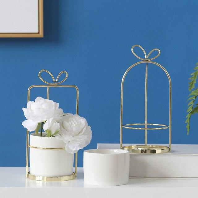 Florero de simulación de cerámica de marco de metal de ins nórdico maceta de cerámica portátil recipiente de maceta de cerámica escritorio creativo jarrón seco