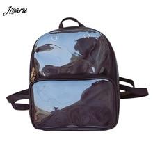 夏のファッションの女性バックパック透明学生バッグ高品質クリア多彩なバックパック女性のレザーバッグ女性旅行バッグ