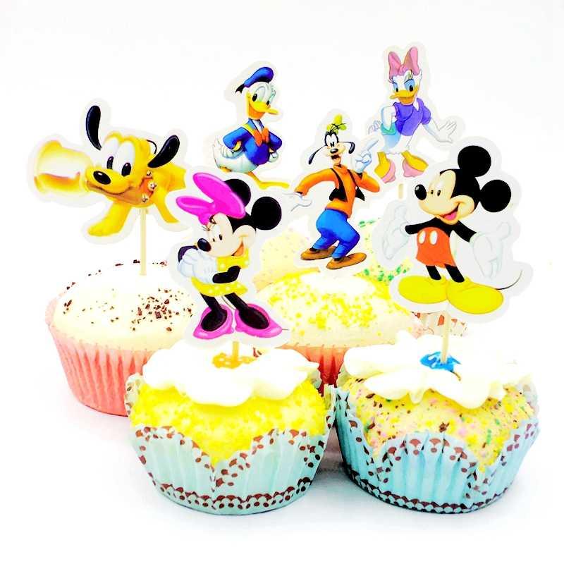 Amazing 48Pcs Cute Cartoon Mickey Mouse Minnie Dog Cake Toppers Kids Birthday Cards Printable Giouspongecafe Filternl