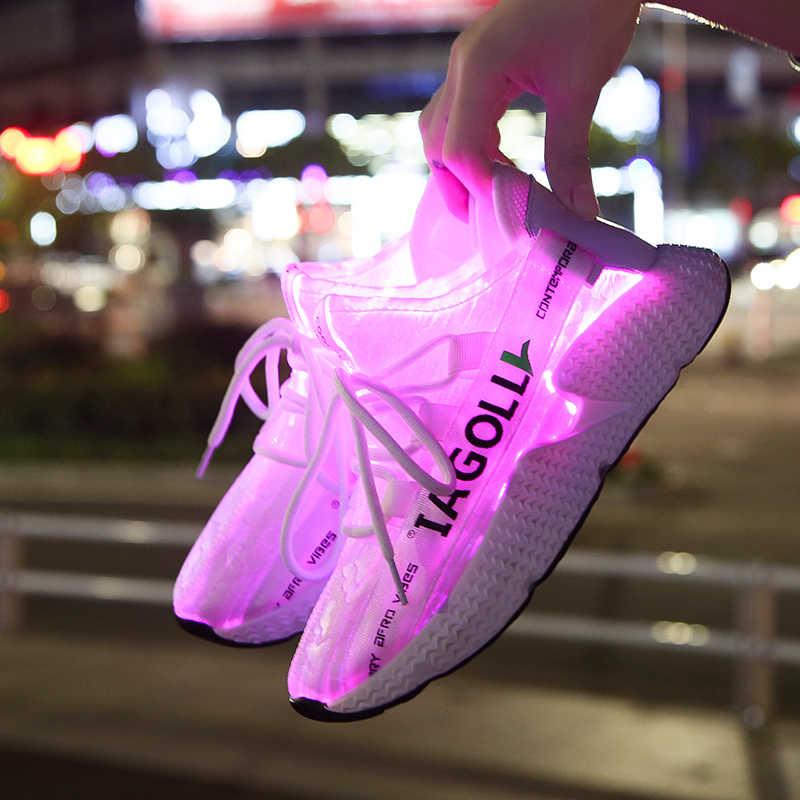 Süper hafif yaz Led Fiber optik ayakkabı kız erkek erkekler kadınlar USB yeniden şarj edilebilir parlayan Sneakers erkek light Up ayakkabı spor ayakkabı