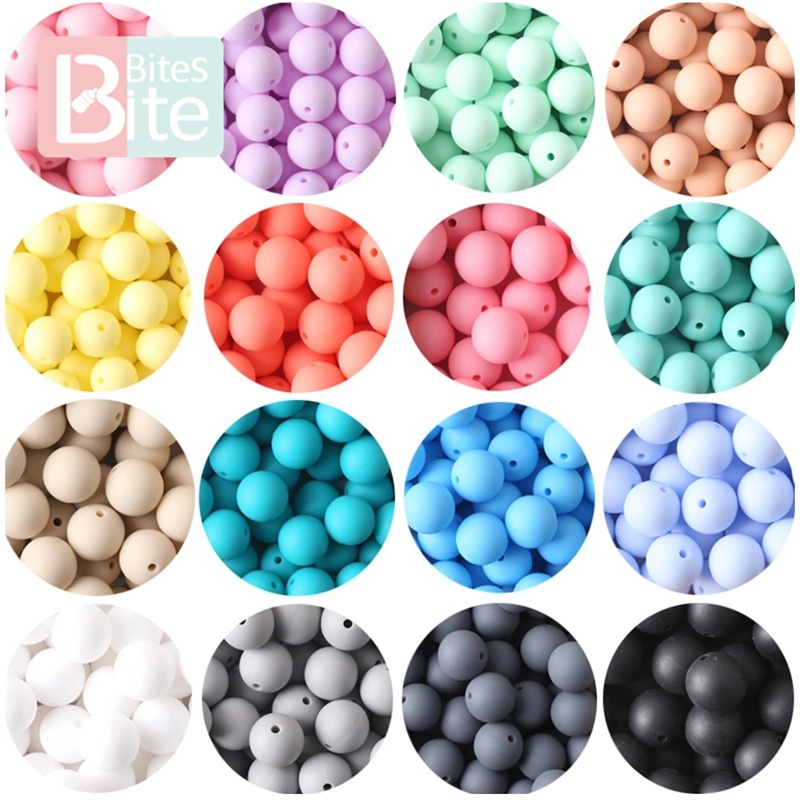 bite bites 15mm 10pc Silicone Beads Food Grade Baby Teething Products Chews Pacifier Chain Clips Teether Toy