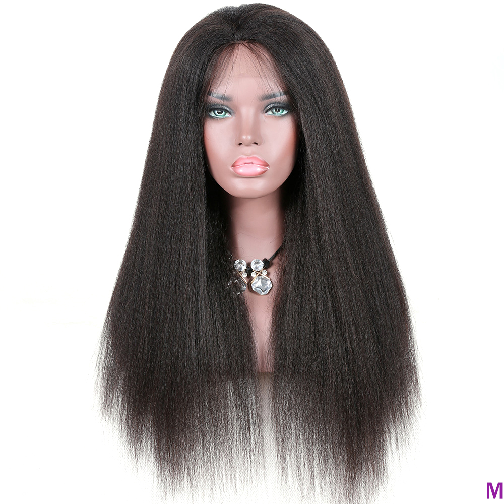 Brazilian Remy Hair Kinky Straight 13x4 Lace Front Human Hair Wigs For Black Women 150% Pre Plucked Lace Wig With Baby Hair