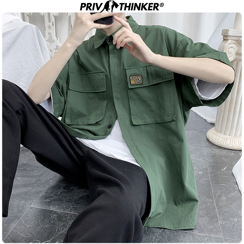 Privathinker Men Summer Safari Style Shirts 2020 Men Harajuku Short Sleeve Streetwear Pockets Clothes Male Fashions Shirts Tops