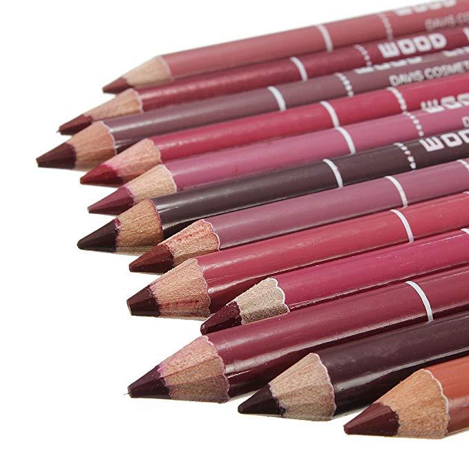 12pcs Multi-functional Waterproof Lip Liner Pencil Long Lasting  Lips Eye Brow Makeup Cosmetics