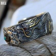 New s925 pure silver dragon bracelet men, wide personality