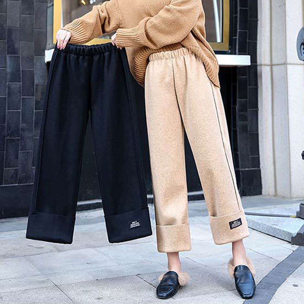Womens Autumn And Winter Loose High Waist Straight Thick Casual Wide Leg Pants Winter 2019 Dropshipping  Fashion Wo