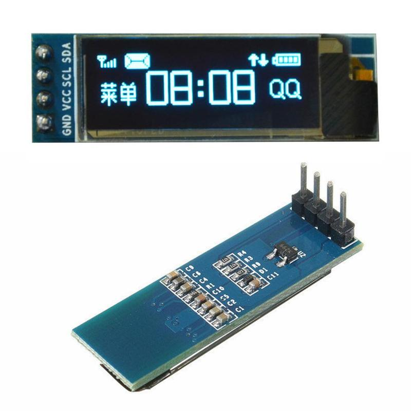 New 1Pcs IC I2C 0.91 Inch OLED Display Module 128x32 Blue OLED LCD Module 3.3v 5v For PIC Accessories 2021 Hot Sale