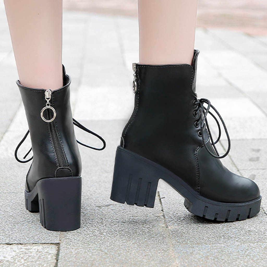 SAGACE Plus Größe Stiefeletten Frauen Einfarbig Runde Kappe Lace-Up Stiefel Chunky Heels Vintage Boot Damen Frauen der Schuhe Aug20