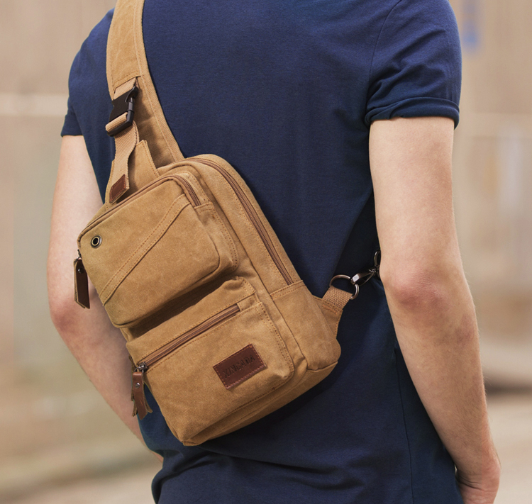 Men Vintage Chest Pack Canvas Leather Satchel Shoulder Sling Small Chest Bag Pack Hiking Sport Shoulder Chest Cross Body DF50CP