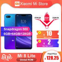 "En Stock ROM globale Xiao mi mi 8 Lite 6GB RAM 64 GB/128 GB ROM Smartphone Snapdragon 660 6.26 ""FHD + écran 24.0MP caméra frontale"