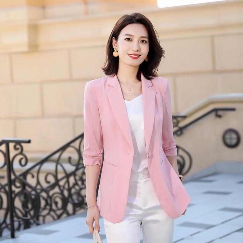 Women Blazer 2020 Spring New Summer 3/4 Sleeve Ladies Pink Jacket Blazer Plus Size Elegant Formal Office Worker Blazer Feminino