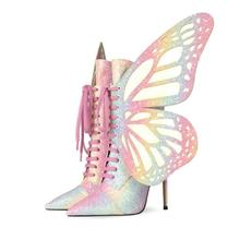 Sequin-Boots Lace-Up Butterfly Stiletto High-Heel Autumn Woman Fashion Wings New