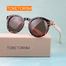 Toketorism bamboo sunglasses 2019 retro mens round shades for women leopard frame 3204