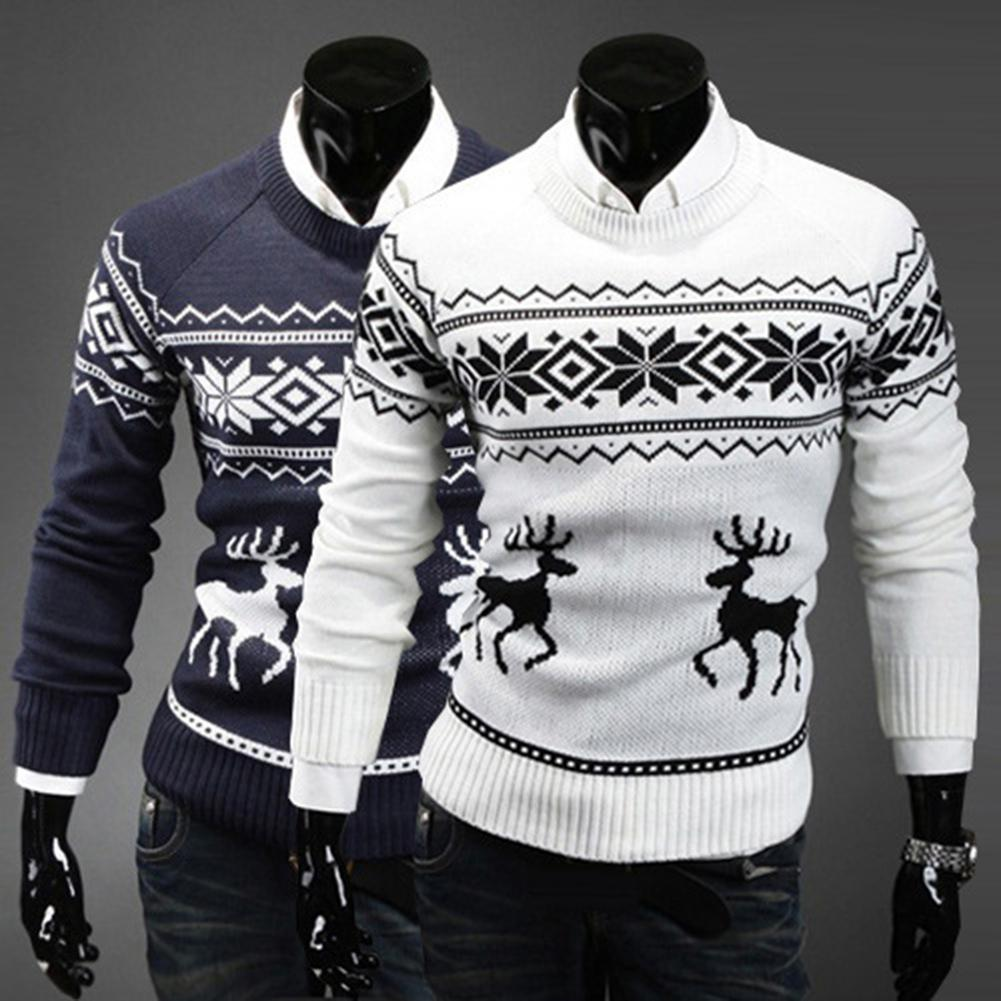 2019 New Autumn Winter Men's Sweater Turtleneck Christmas Deer Print Sweaters Casual Slim Fits Brand Knitted Sweater Men