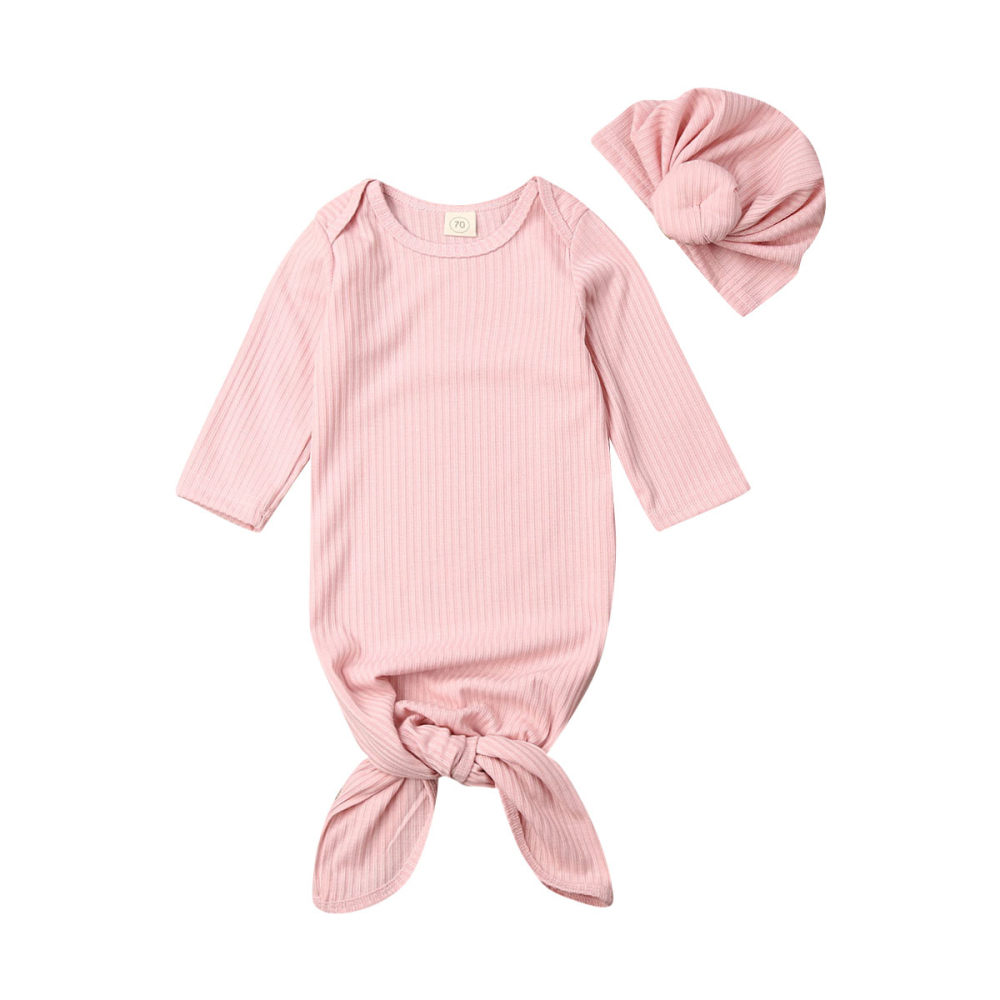2Pieces Newborn Baby Girl Boy Cocoon Swaddle Blanket Sleeping Bags Muslin Wrap+Hat Sets 100cm Cotton Baby Sleeping Bag For 0-6M