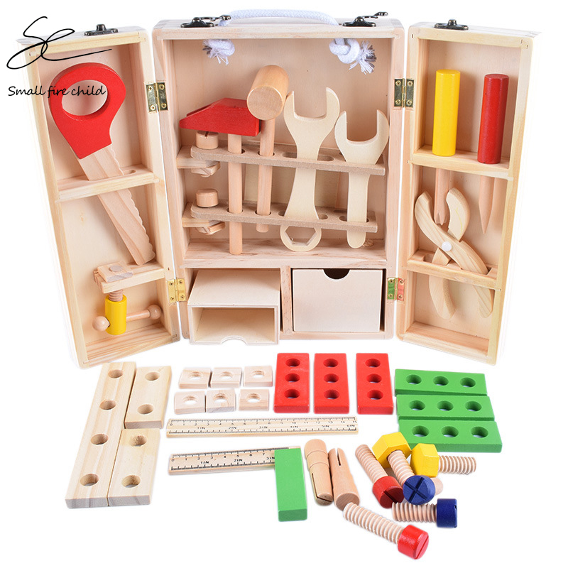 Wooden <font><b>Tool</b></font> <font><b>Toys</b></font> Simulation Kids Multi-Function Toolbox Play House <font><b>Toy</b></font> Screw Nut Disassembly Educational <font><b>Toys</b></font> For Boys Gifts image