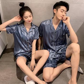 Pajamas for women Ice silk sleepwear PLUS size Sexy Silk Summer Sleepwear sexy Women Men Negligee