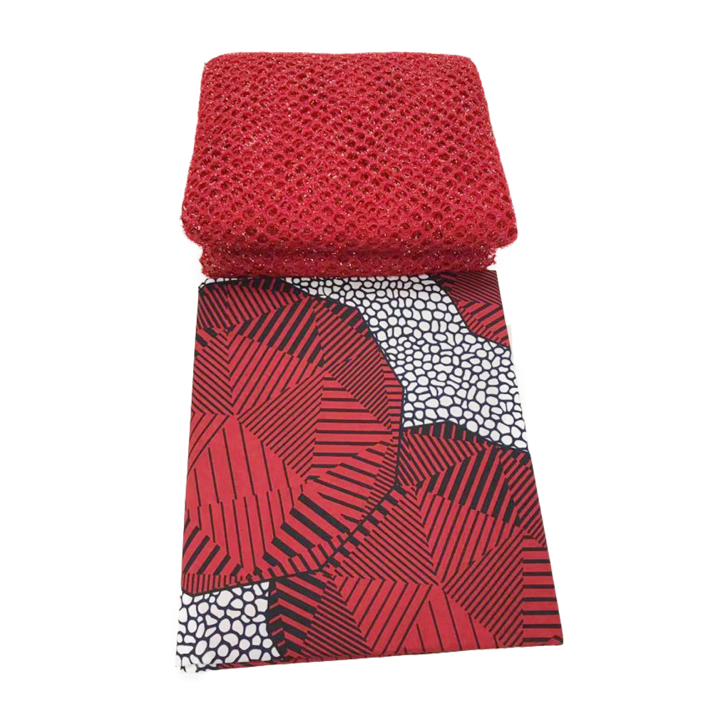 Fashion Red African Pange Wax Fabric With Tulle French Net Lace 3+2.5yrds, High Quality Cotton Real Dutch Wax Fabrics 2019