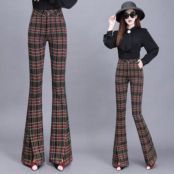 Spodnie w kratę kobiety jesień nowy wełniany rozkloszowany spodnie damskie wysokiej talii rozdzielone spodnie damskie spodnie damskie spodnie cargo damskie tanie i dobre opinie LOW LUV Poliester Pełnej długości CN (pochodzenie) 5523 Plaid Na co dzień Spodnie pochodni Mieszkanie REGULAR Osób w wieku 18-35 lat