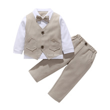 For age 2 or 3 M68 2021 Spring Autumn Clothes Set Boys' Attire Little Baby Suits White Gray Black Blue Khaki Sweet Memory
