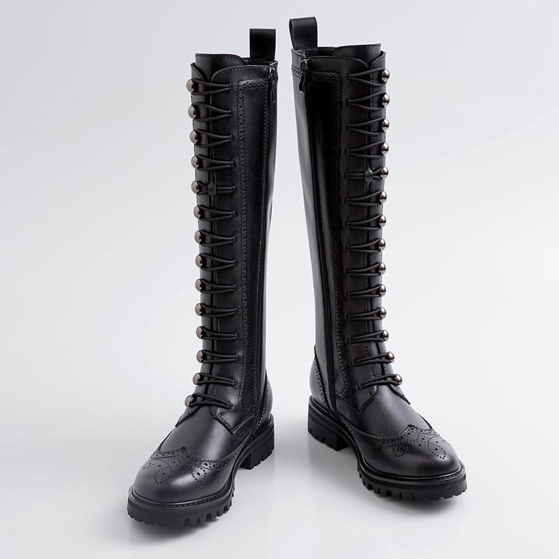 Prova perfetto 2019 novo outono inverno botas de couro das mulheres de salto baixo martin botas da motocicleta de couro genuíno botas longas moda