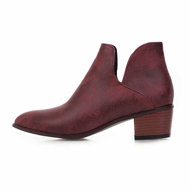 Meotina bahar yarım çizmeler kadın botları PU deri kalın topuklu kısa çizmeler sivri burun üzerinde kayma ayakkabı bayanlar 2020 artı boyutu 34 -43