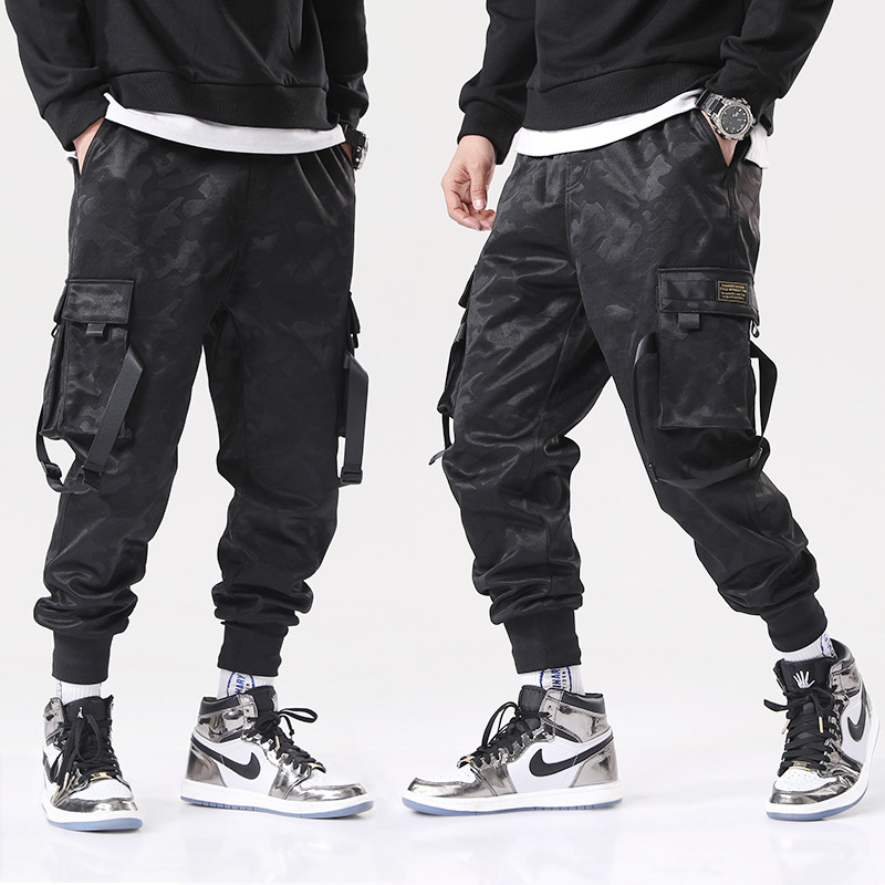Hip Hop Streetwear Cargo Pants Men'S Casual Splice Joggers Trousers Camouflage Sweatpants Lace-Up Fashion Pant Pantalones Hombre