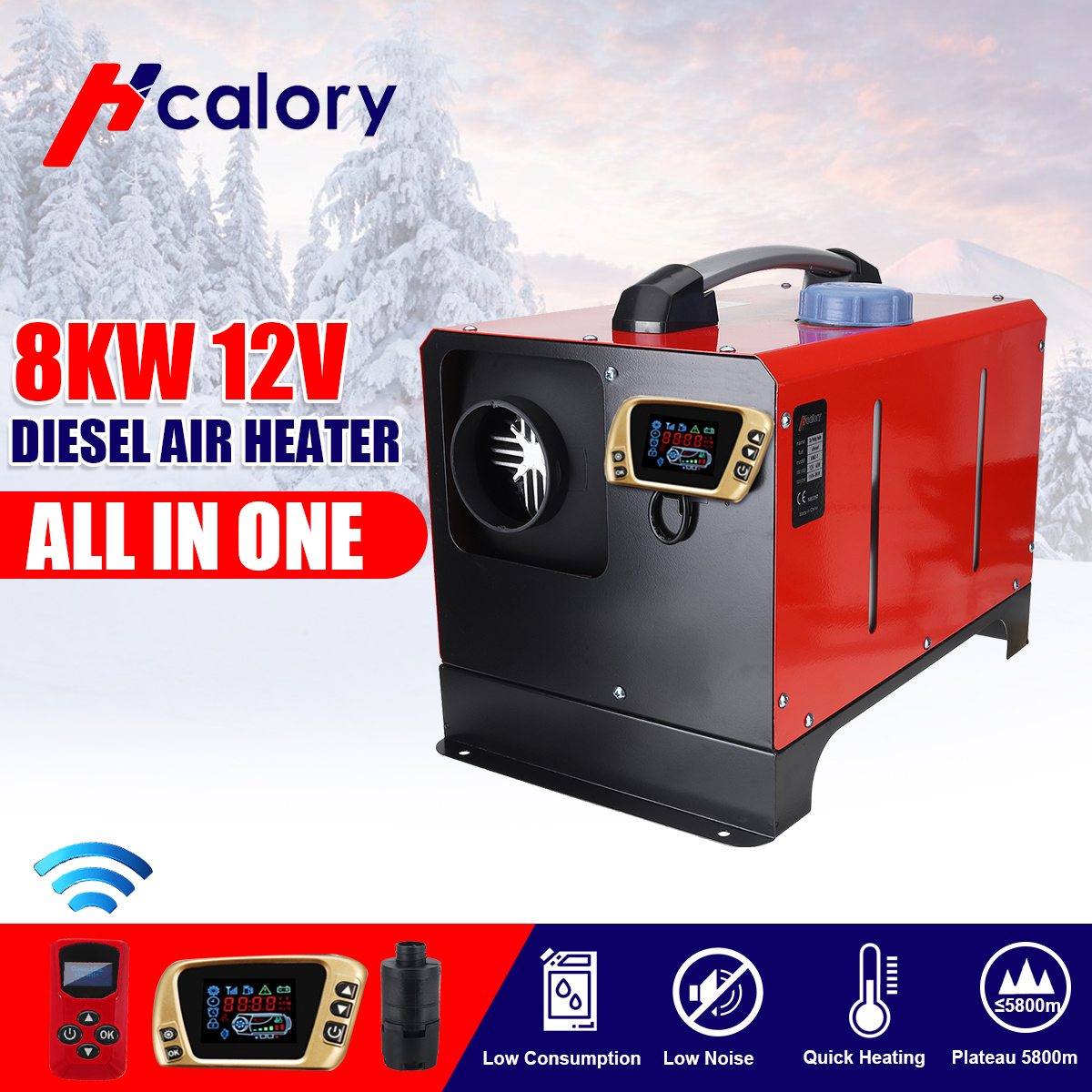 All In One Air Diesels Heater 8KW Adjustable 12V One Hole Car Heater For Trucks Motor-Homes Boats Bus +LCD Key Switch+Remote