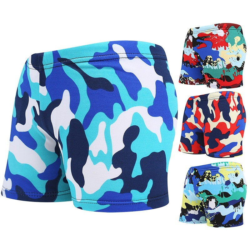 Middle And Large Swimming Trunks BOY'S Children Child Boxer Beach Swimming Trunks Camouflage Polyester Lace-up Loose-Fit Korean-