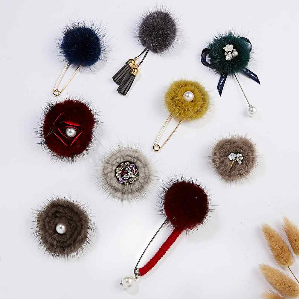Belleper New Design Mink Fur Pompom Ball Women Luxury Flower Brooch Female Brooches Pins Coat Suit Collar Cardigan Dress Jewelry