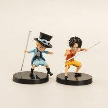3 ชิ้น/เซ็ตอะนิเมะศิลปินในวัยเด็ก Luffy Ace Saab สาม Brothers ตุ๊กตา PVC Collection ของเล่นตกแต่งบ้านวันเกิดของขวัญ
