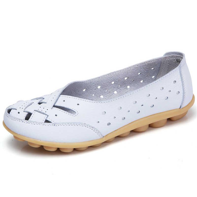 Kadınlar Flats Yumuşak Hakiki Deri düz ayakkabı Kadın Loafer'lar Kadınlar Için Oxford Ayakkabı beyaz ayakkabı Moccasins Slipony Artı Boyutu 35-44